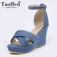 e6cba7811 TAOFFEN Women Sandals Wedges Open Toe Ankle Strap Women Summer Shoes Sexy  Ornate For Party Wedding