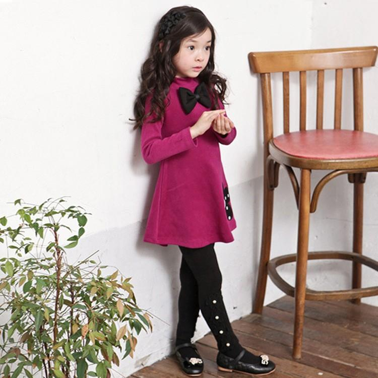 2016 Winter Girls Dress Thicken Girls Warm Cotton A letter Dress Kids Cute Style Comfortable material big Peplum with Dress
