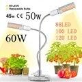 Светодиодная лампа для выращивания растений Sunlike  полный спектр 45 Вт 50 Вт 60 Вт E27  двойная головка  гибкая гусиная шея для теплицы  цветок  Фит...