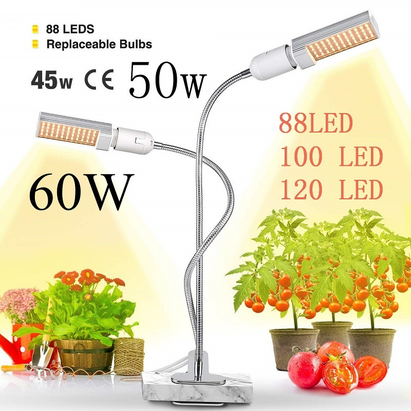 LED Plant Grow Lights Sunlike Full Spectrum 45W 50W 60W E27 Dual Head Flexible Gooseneck for Greenhouse flower Phyto lamp EU US