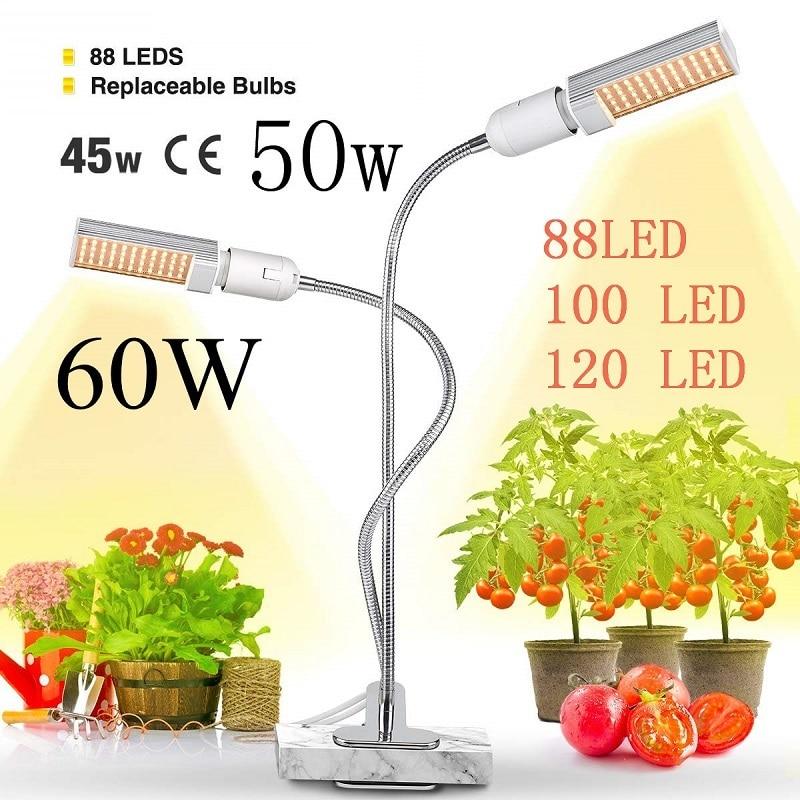 LED Plant Grow Lights Sunlike Full Spectrum 45W 50W 60W E27 Dual Head Flexible Gooseneck for Greenhouse flower Phyto lamp EU/US