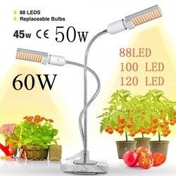 Oświetlenie roślin LED Sunlike pełne spektrum 45W 50W 60W E27 podwójna głowica elastyczna gęsiej szyi dla szklarni kwiat lampa fito ue/usa w Lampy LED do hodowania roślin od Lampy i oświetlenie na