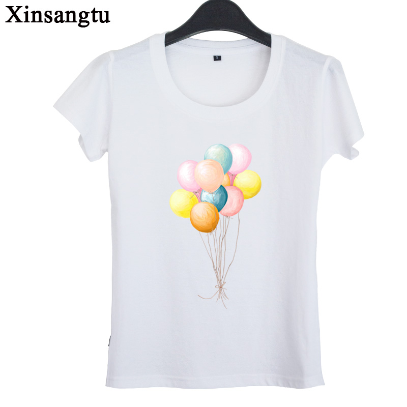 xinsangtu 2017 new summer dresswomen tops tide - balloon printing short sleeved T-shirt slim female ladies T-shirts