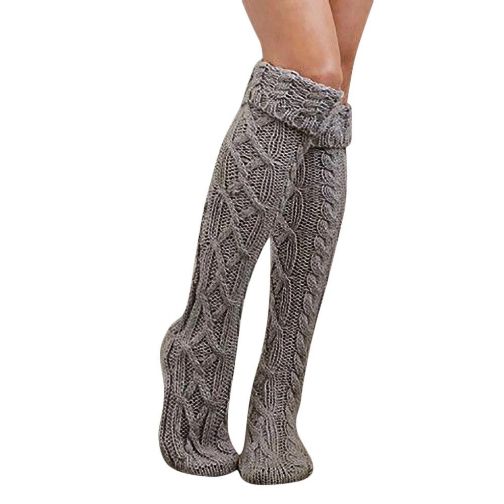 Модные новые женские носки выше колена до бедра для девушек и женщин длинные хлопковые чулки теплые зимние толстые теплые шерстяные носки п...