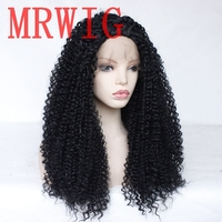 MRWIG afro kinky curly 26in 180%density synthetic front lace wig free part heat resistant for african american woman