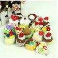 5 pçs/lote O modelo de simulação de bolo de pelúcia, brinquedos Do Bebê pingente de celular