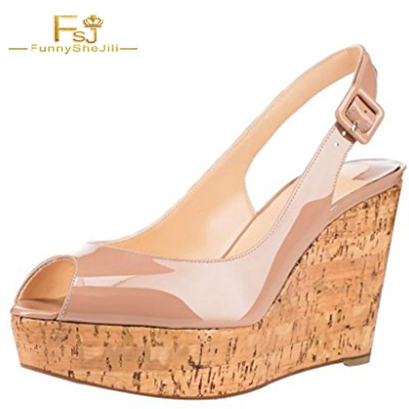 FSJ Summer Women Shoes Platform Wedges Sandals Ankle Strap Fashion Casual White Ladies Shoes Plus Size Fish Head Slope women sandals fashion straw shoes woman summer wedges sandals ankle strap casual ladies flat sandals