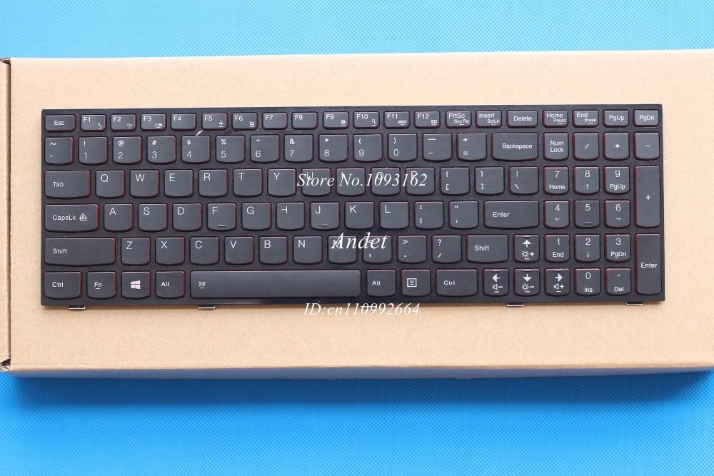 90% New US Keyboard For Lenovo Y500 Y500N Y510P Y580 Y580N Y590 Laptop US English Black Red Frame With Backlit the new greece for lenovo y500 y510p y500n black with red backlit keyboard
