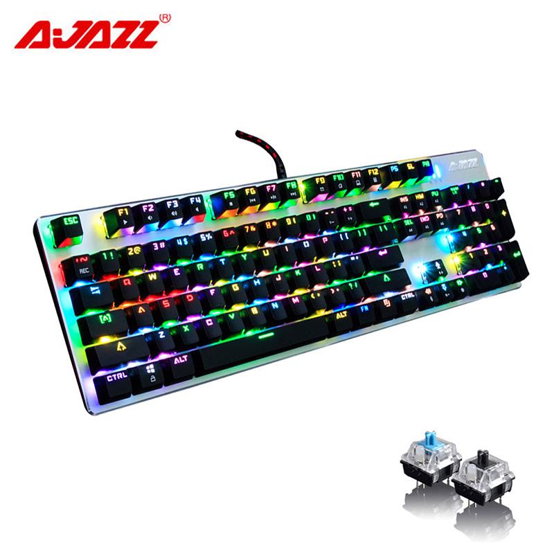 104 Keys Ajazz Wired RGB LED Backlit Multimedia USB Mechanical Gaming Keyboard Gamer illuminated Ergonomic For Laptop Computer 104 keys usb wired mechanical keyboard backlit phone holder gaming keyboard blue switch waterproof for pc desktop laptop gamer