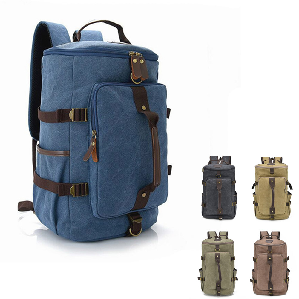 Fashion Men Large Capacity Travel Backpack Mountaineering Bag Canvas Bucket Shoulder Bags FA$B
