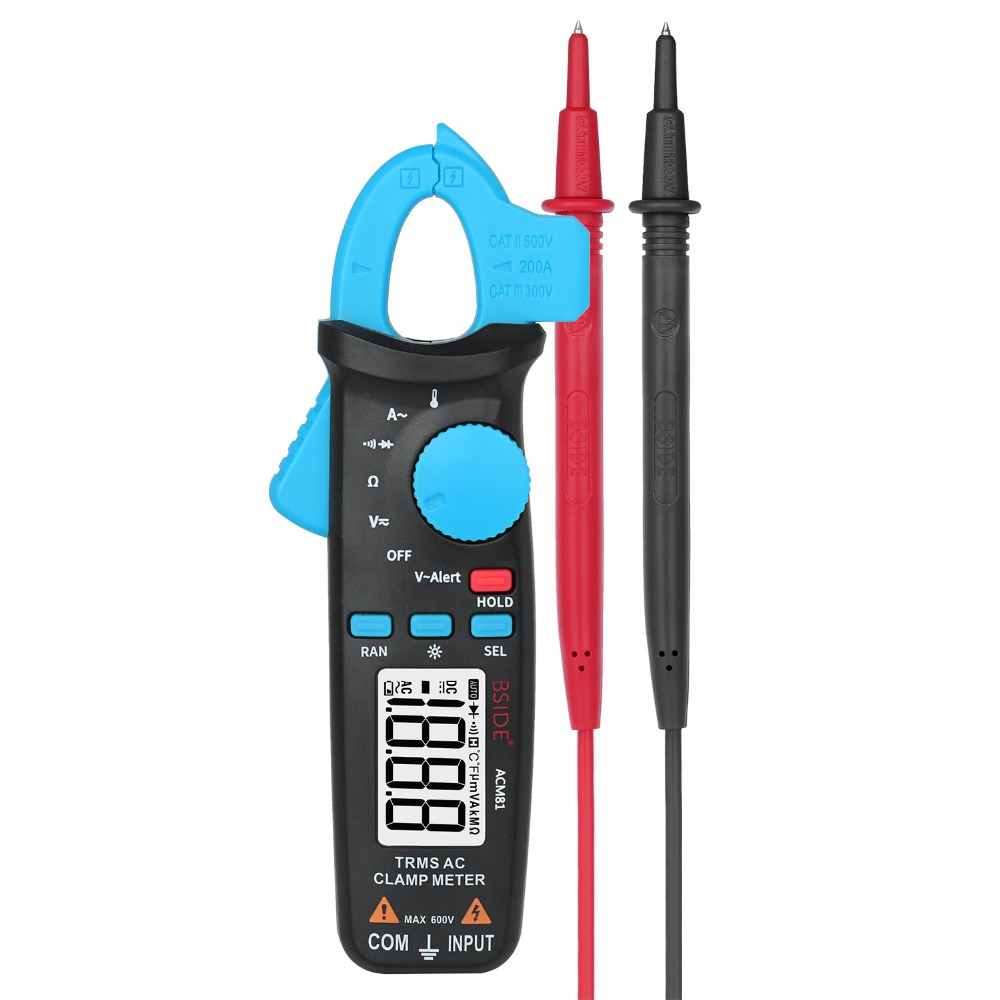 BSIDE ACM81 TRMS AC Clamp Meter 1mA Auto-Ranging Digital Multimeter 2000 Counts Voltage Current Diode Tester with Back Clip bside adm04 lcd digital multimeter mini pocket 2000 counts dmm dc ac voltage current meter diode tester auto ranging multimetro