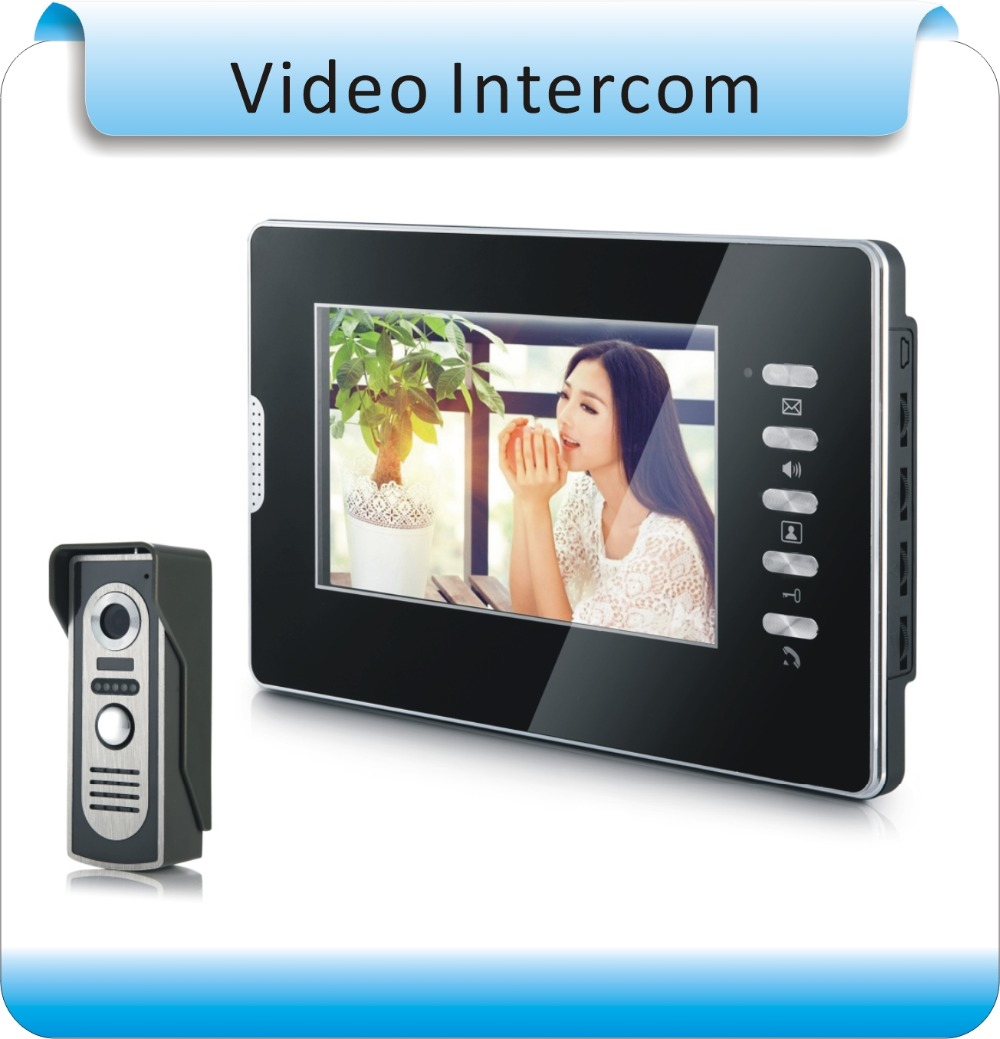 Exclusive starting 7 TFT LCD  Home Security Video Door Phone Doorbell Intercom System with 1 Cameras + 1 Monitor,  Door Bell jeatone 7 lcd monitor wired video intercom doorbell 1 camera 2 monitors video door phone bell kit for home security system