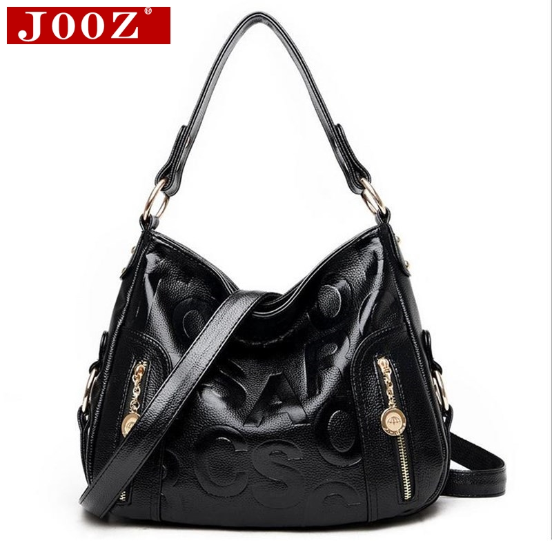 ФОТО JOOZ Women Crossbody Bags Famous Brand Letter Embossed Hobos Bag Vintage Female Shoulder Bags Big Handle Bags Mujer Bolsas