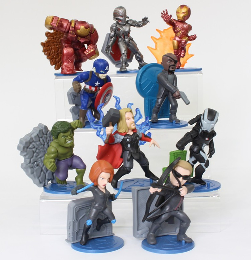 ФОТО 10Pcs The Avengers Action Figures Super Hero Doll Toy Hulk Captain America Superman Iron Man Thor Iron Man Action Figures Toys