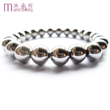Mens 9MM 316L Stainless steel beads bracelet,Good quality Unisex big round 316L Stainless steel beaded strand bracelets jewelry(China)