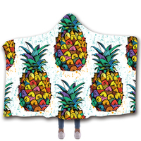 Scarves & Wraps Hooded Blanket 3D Print Harajuku Colored pineapple fruit off white poncho scarf shawl manteau femme hiver