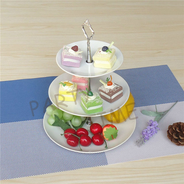 White serving stand for birthday and wedding party, cupcake and fruit 3-layer serving plates tower