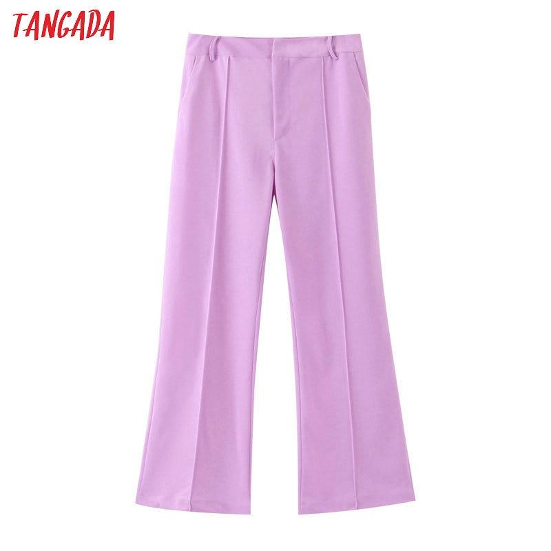 Tangada Fashion Women Purple Wide Leg Pants Office Ladies Pockets Full Length Trousers Female Long Pantalones SL406