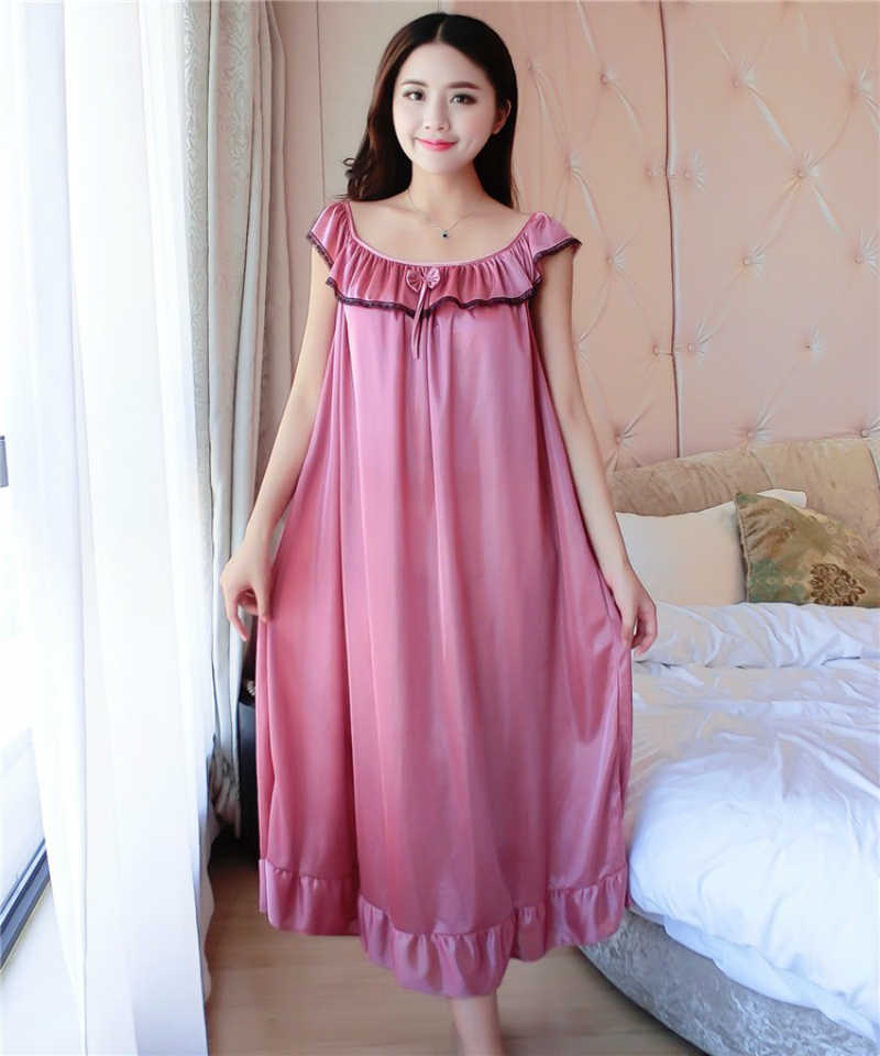 b1567aed5a ... Women Nightgowns Silk Satin long Night Dress Sexy Spaghetti Strap  V-Neck Lace Home Dress ...