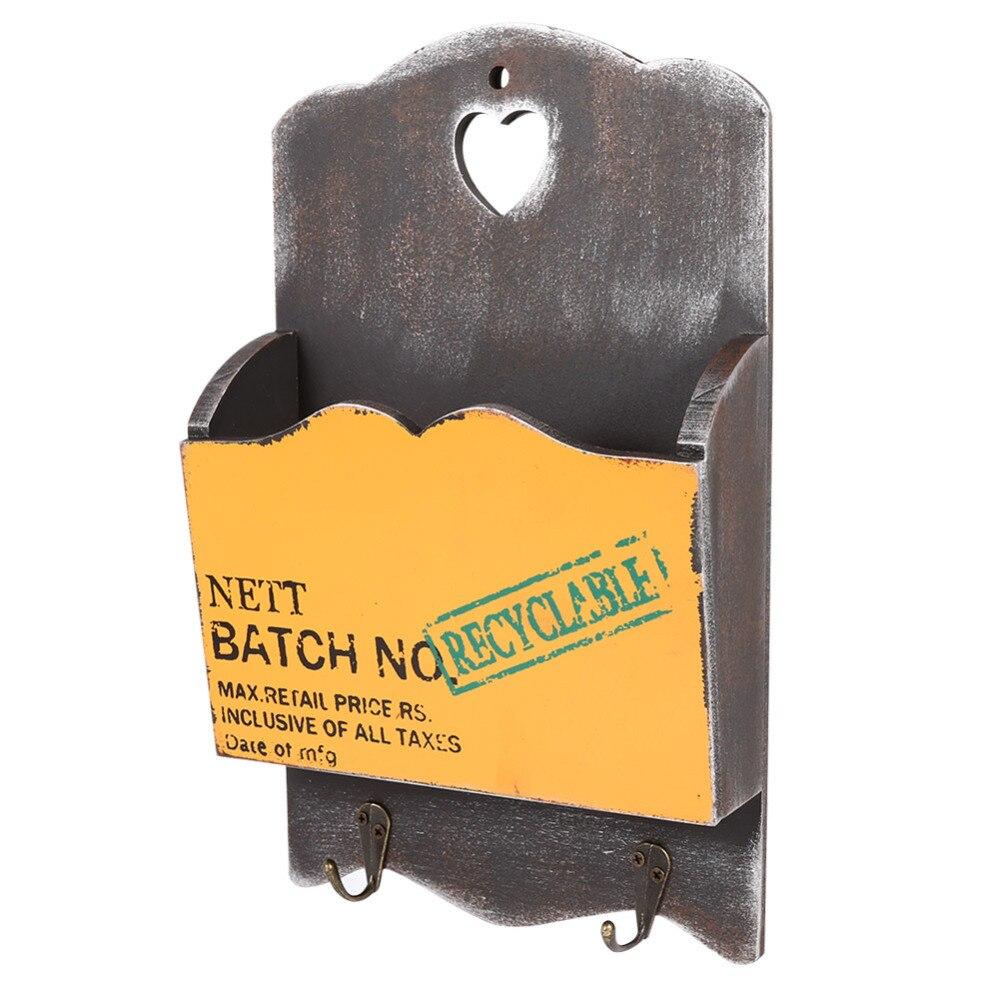 Wood Mail Box Letter Rack Key Holder Wall Storage Creative Home ...