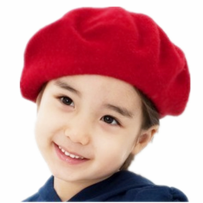 Children Wool Berets Baby Spring Autumn Winter Hats Girls Fashion Painter Caps