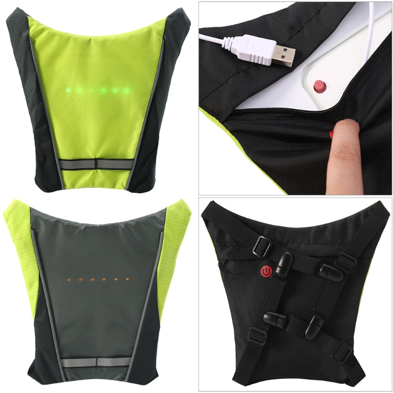 Back To Search Resultssports & Entertainment Cycling Clothings Cycling Vest Outdoor Warning Light Safety Jacket Signal Reflective Bicycle Gear Rechargeable Built-in Battery Fashionable Patterns
