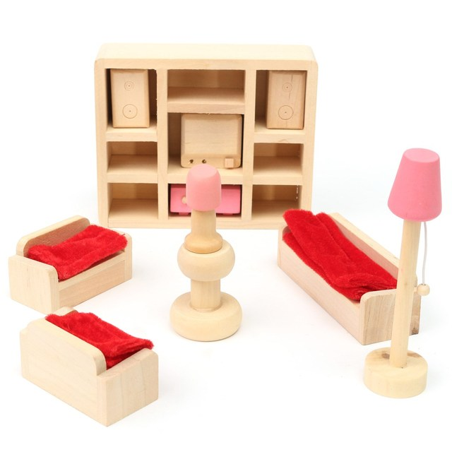 Wooden Delicate Dollhouse Furniture Toys Miniature For Kids Children Pretend Play 6 Room set/4 Dolls Toys
