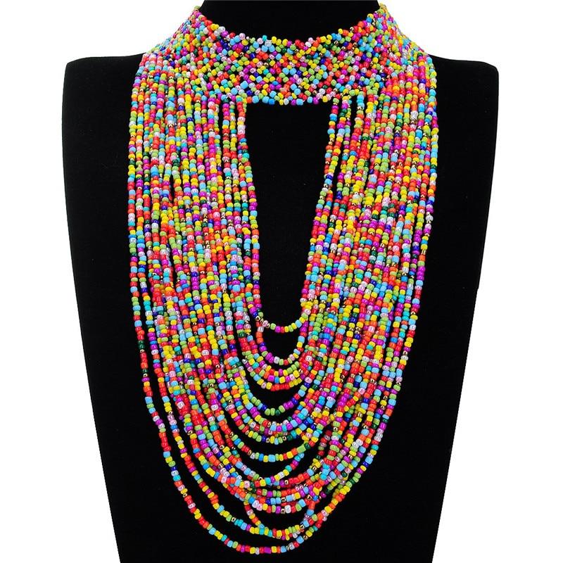 11 Colors Collar Creative 22 Layers Chain Style Bib Pendant Necklace ...