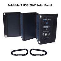 Foldable 3 USB 5V 28W Solar Panel For Mobile Phone Tablet PC Solar Battery with Fast Charging Smart Solar Charger