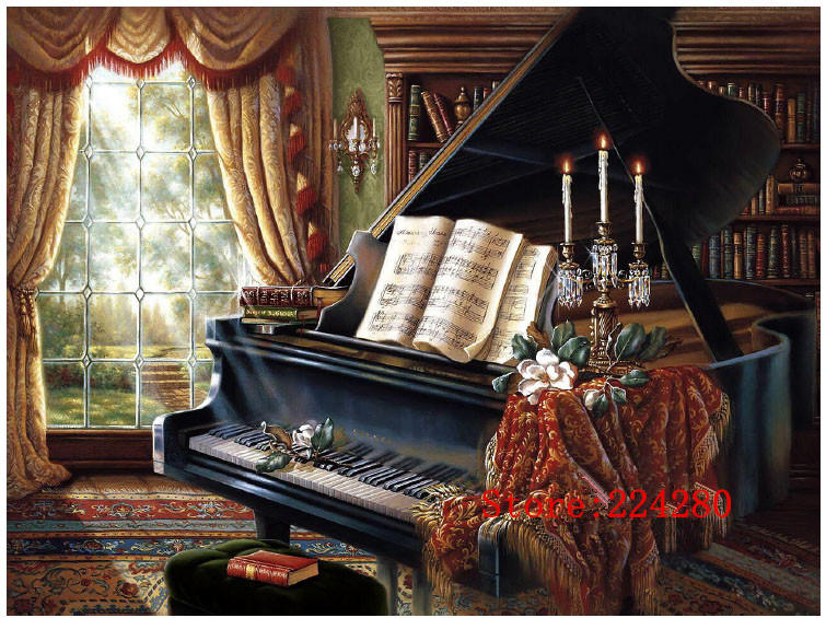 Classic Piano Needlework Crafts 14ct White Canvas Unprinted Handmade Embroidery DMC Counted Cross Stitch Kits Set DIY Home Decor