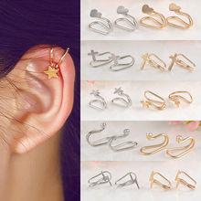 Fashion 1Pc Silvery/Golden Ear Cuff Earrings Women Charming Hot Non Piercing Cartilage Ear Clip