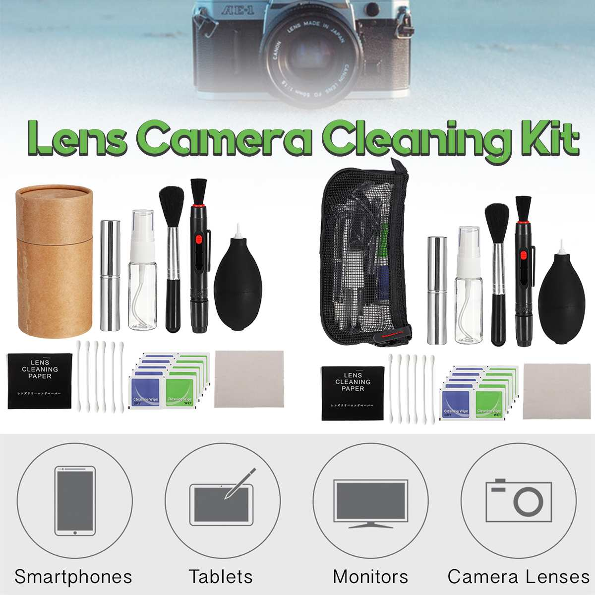 Filtros de lente de 3in1 Brocha retráctil Bolígrafo Limpiador De Polvo para Cámara Réflex Digital DC Computadora