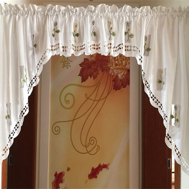 2016 Flower Kitchen Curtains Short Styles Valances White Embroidered Sheer  Window Curtains Short New Arrival