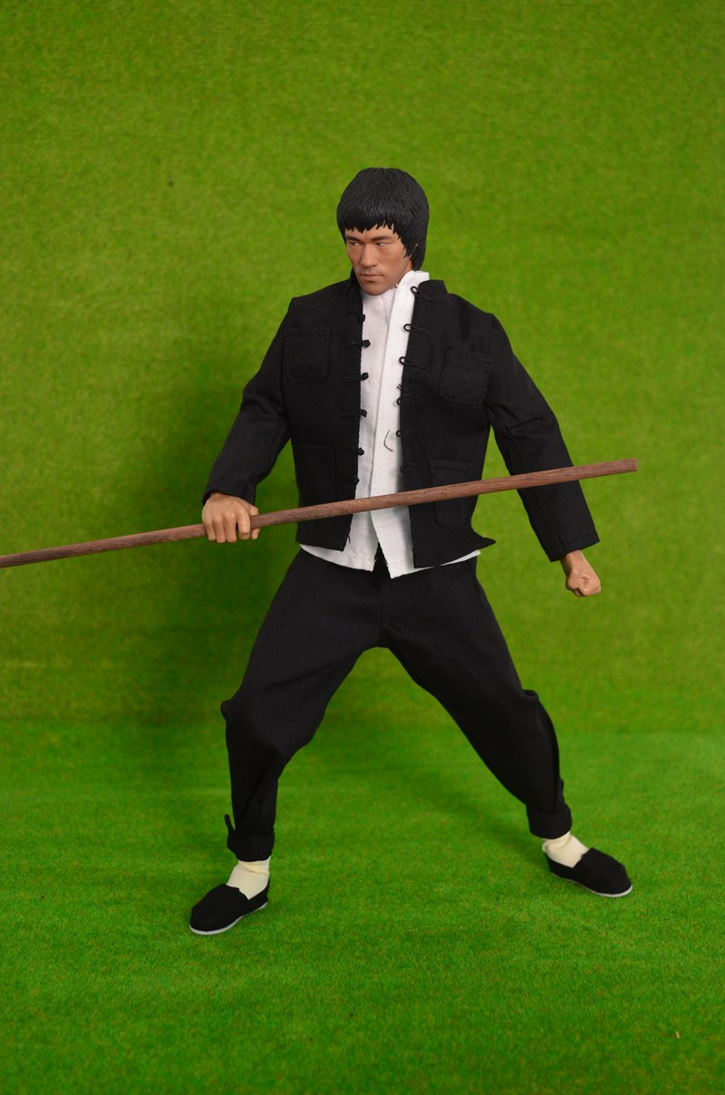 1/6 scale figure doll Kung Fu Shirts sets Bruce Lee with stick.12 action figures doll.Collectible figure model toy gift,no box ru tea sets new wholesale ceramic italics opening film ru kung fu tea gift box gift