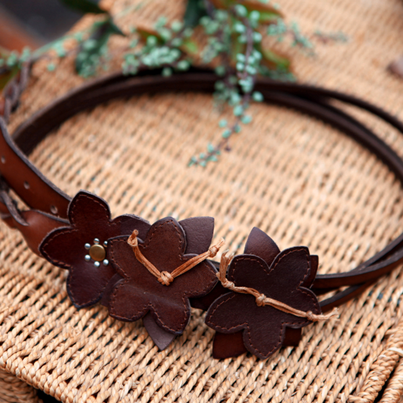 ARTKA Women s Summer Fashion Vintage Classic Genuine Leather Handmade Knitted Belt G09595