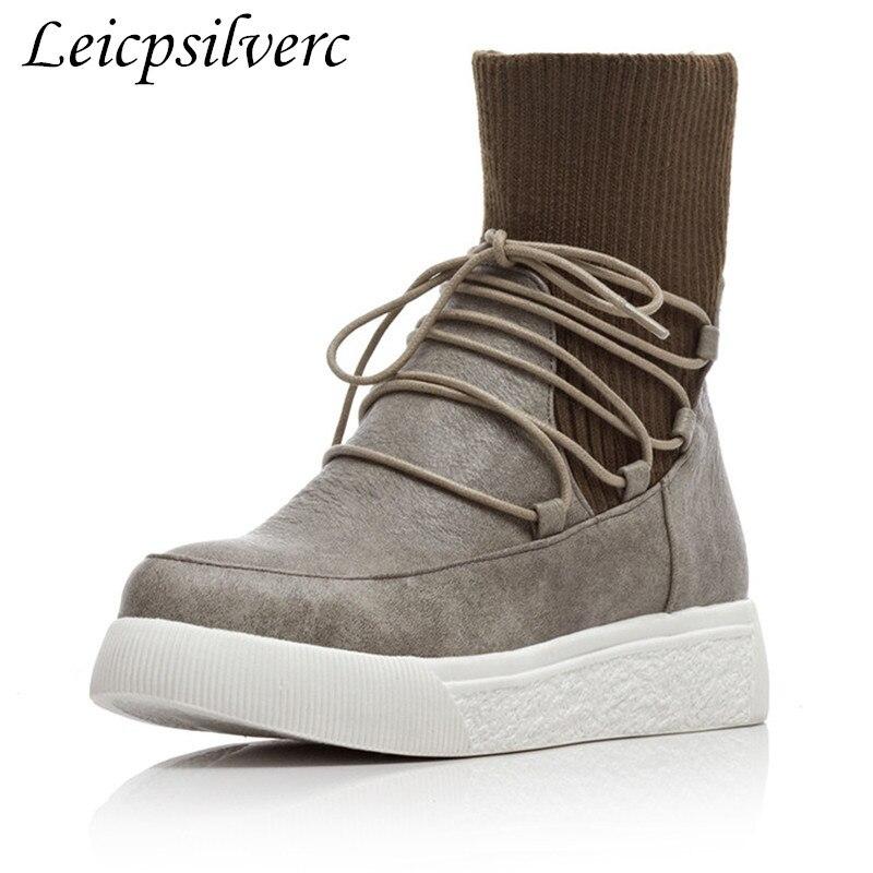 Chaussures 3plush 43 Épissage Bottes Femmes Size34 Plus Courtes Hiver Talon Plates 2 1 Pu Frein Haute De Fine Qualité 4plush Jeunes 51FqwF