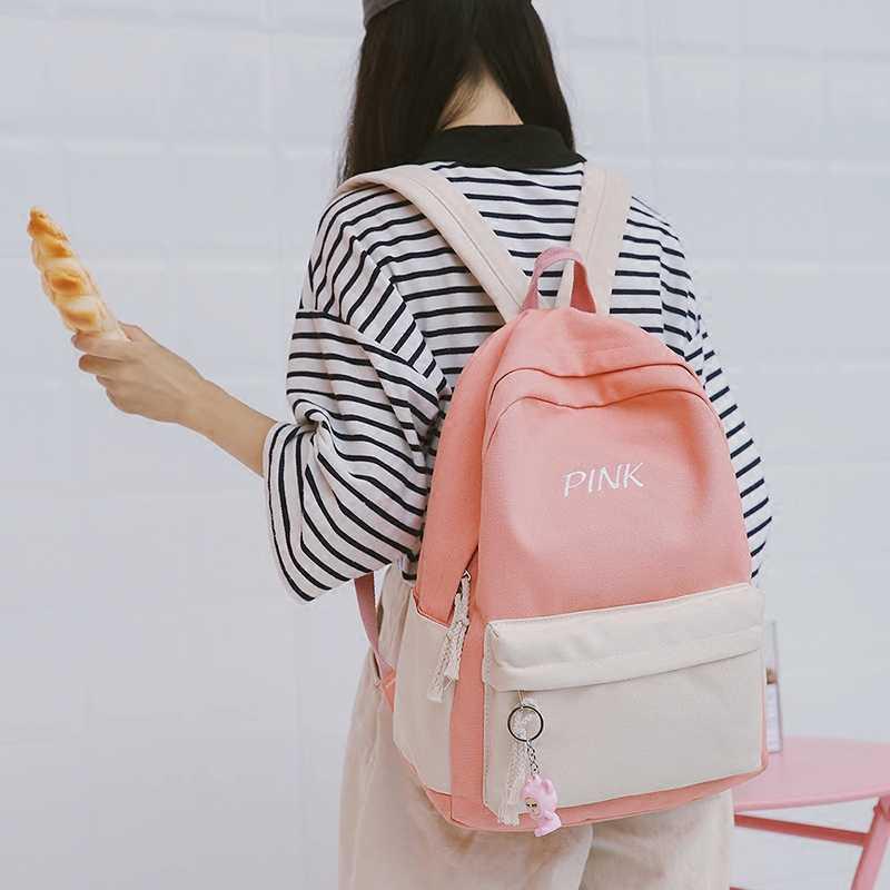 208bcf0cd3a4 Japanese Harajuku Cute women Backpack Words Pink School Backpacks For  Teenage Girls Kawaii Laptop Blue Back