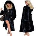 2016 de Piel Sintética de Invierno Mujeres de la Capa Encapuchada Caliente de Lujo Negro Largo Faux Fox Capa de la Chaqueta de piel Para Mujer de Gran Tamaño Sml XL 2XL 3XL F7028