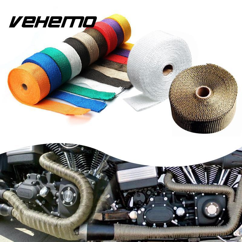 Vehemo 5M Titanium Thermal Exhaust Header Pipe Tape Heat Insulating Wrap Tape Fireproof Cloth Roll With Durable Steel Ties Kit