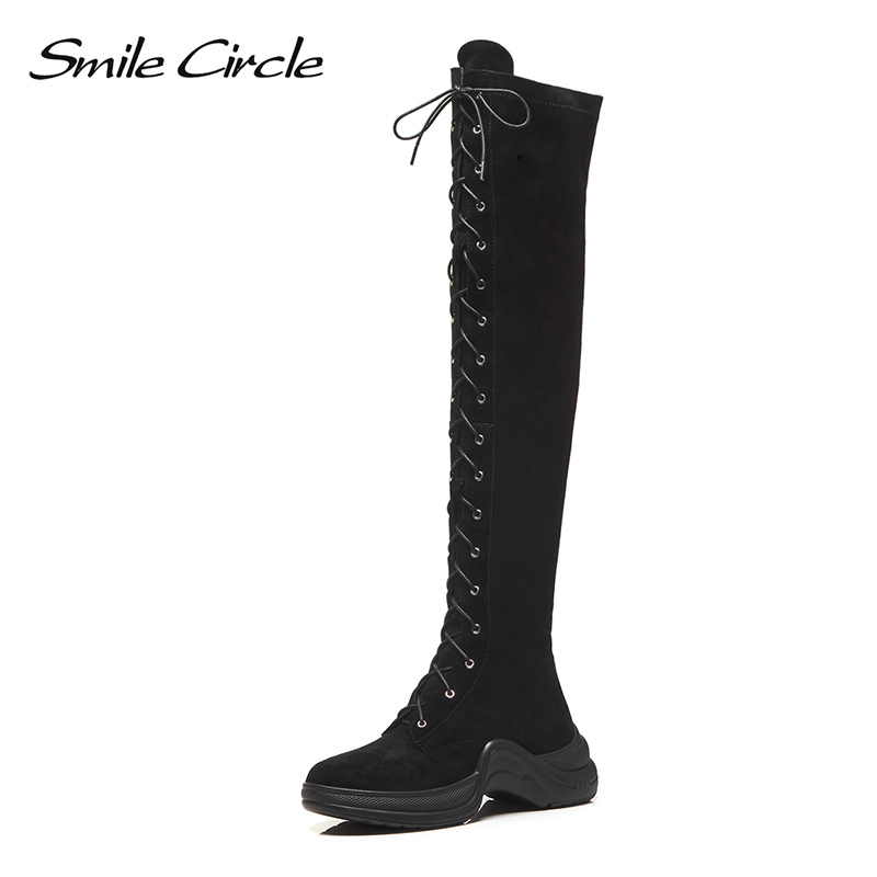 Smile Circle Over Knee Boots Women Flat Shoes Autumn Winter Thigh High Boots Women Suede lace-up long boots High-quality