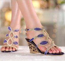2015 Genuine Leather Summer Shoes Women Sandals Wedge High Heel Sandals Rhinestone Women's Slippers Plus Size 33-41