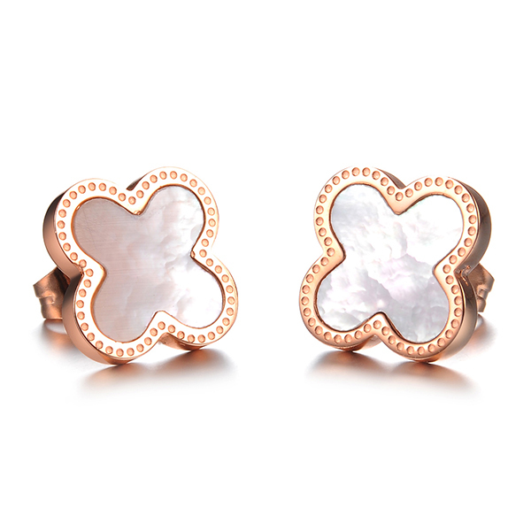 Ea101295 2017 Dainty Stainless Steel Four Leaf Clover Earrings Elaborate And Poy Earings