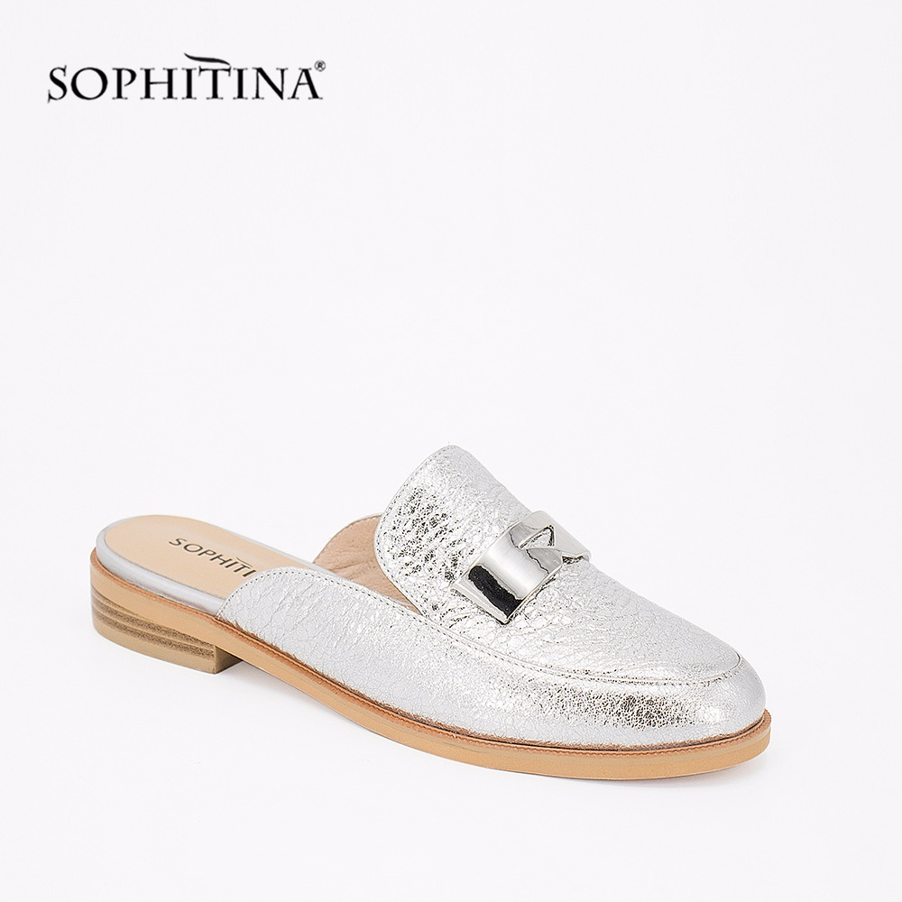 SOPHITINA Genuine Leather Mules Silver Cow Leather Elegant Round Toe Flats 2019 Fashion Metal Decoration Casual