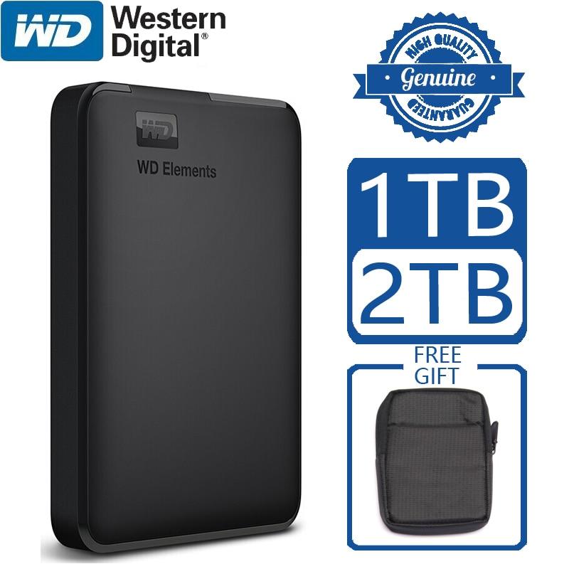 WD элементы Портативный внешний жесткий диск HD 1 ТБ 2 ТБ высокой емкости SATA USB 3,0 устройство хранения ОРИГИНАЛ для ноутбука