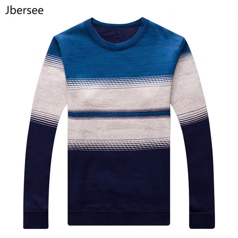 Mens Knitted pullover Sweaters Wool Sweater Winter Slim Fit Striped O-Neck Plus Cashmere Warm Pullover Men Sweater Pull Homme