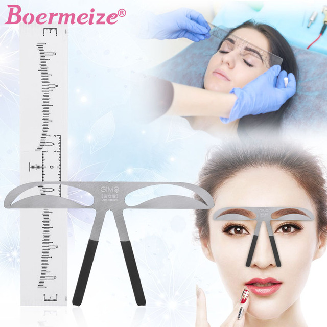 Eyebrow Sticker Stencil Ruler Kit Permanent Makeup Brow Beauty Cosmetic Shaping Grooming Measure Position Template Metal Ruler