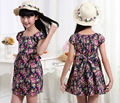 Дети одежда летние платья для девочек лето в стиле девушка платье цветочный принт хлопка день рождения ну вечеринку сарафан детской одежды