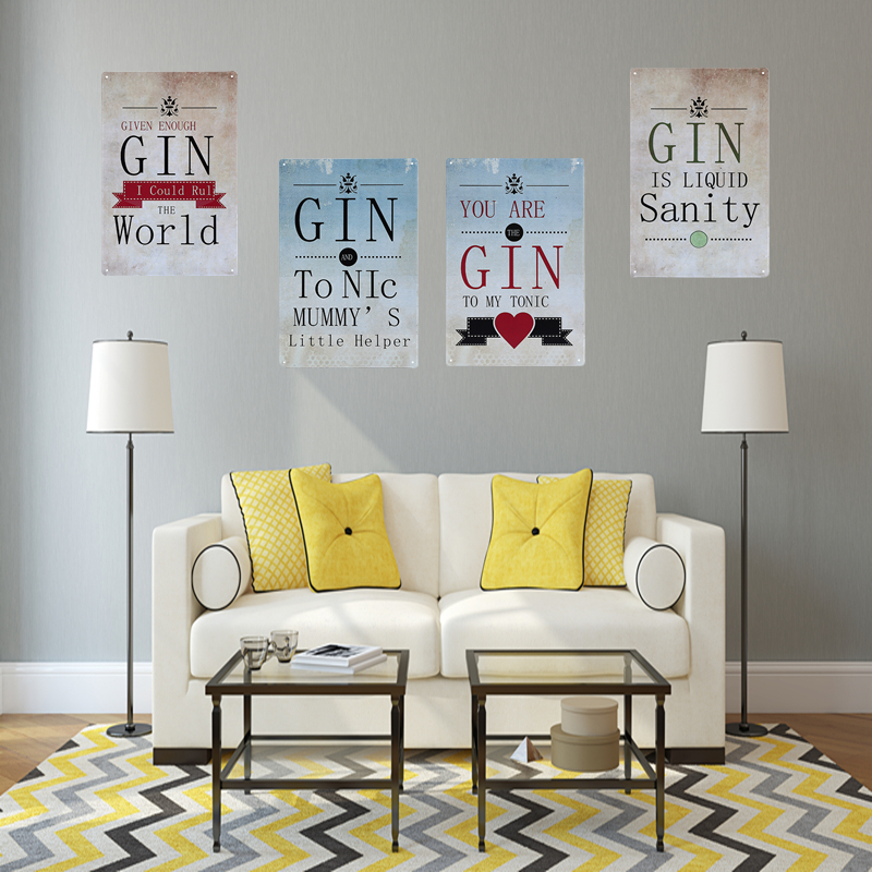 Gin is liquid sanity tin poster vintage home decor bar pub for Retro home decor