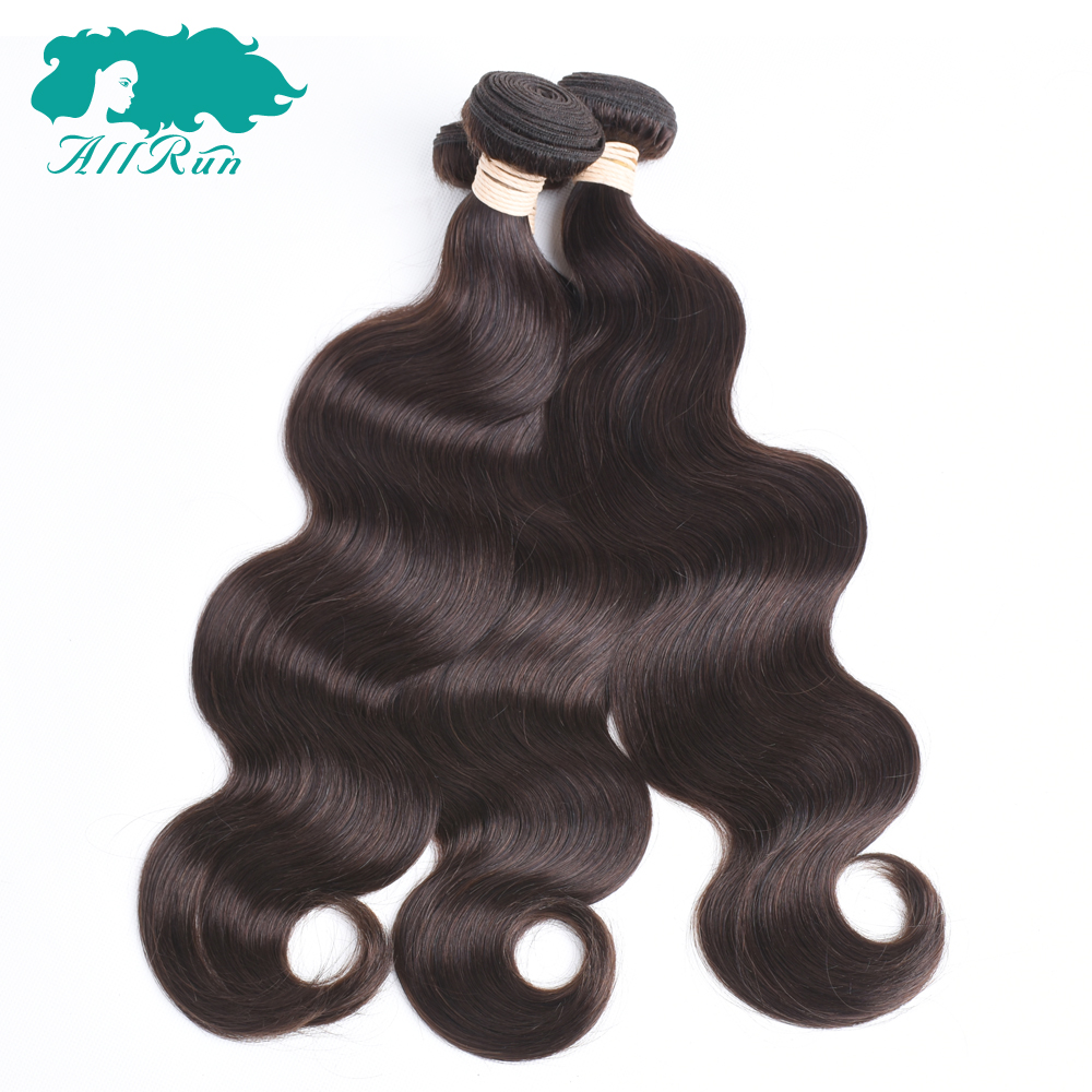 Allrun Pre-Colored Brazilian Body Wave 2# Dark Brown Bundles 3pcs Non Remy Hair ...