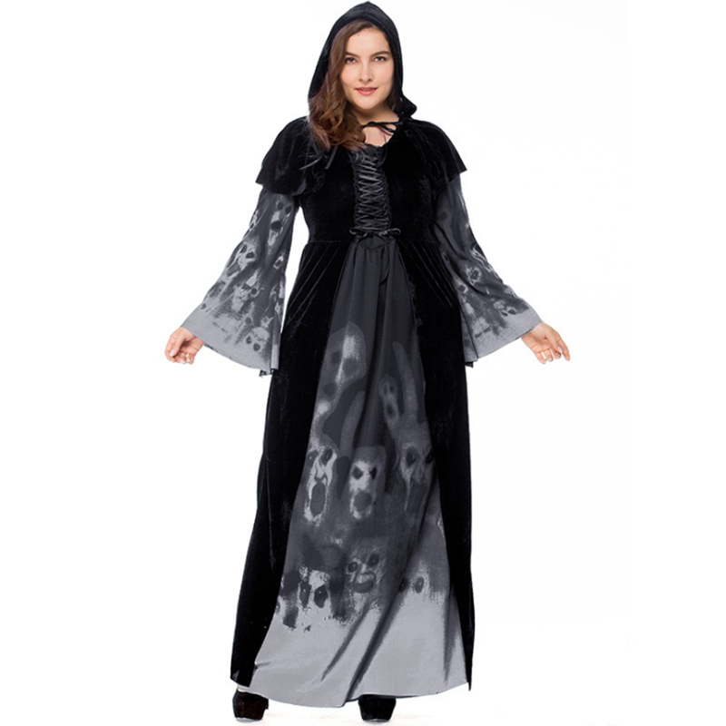 Large size Hoodie Witch Costume Grim Reaper Women black Long Dress Scary Cosplay Costumes Masquerade Women Clothes Halloween